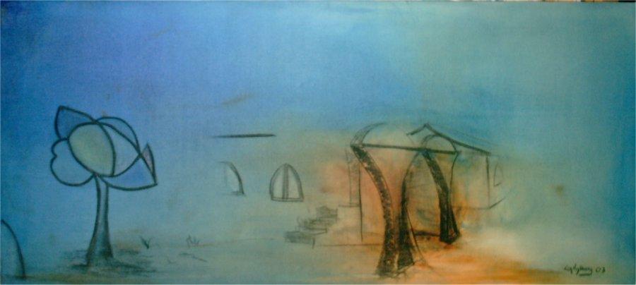 Blå dimma - 2003, oil on canvas, 100 x 47 cm.