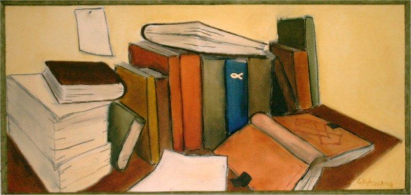 Bokbord - 2003, oil on canvas, 46 x 100 cm.