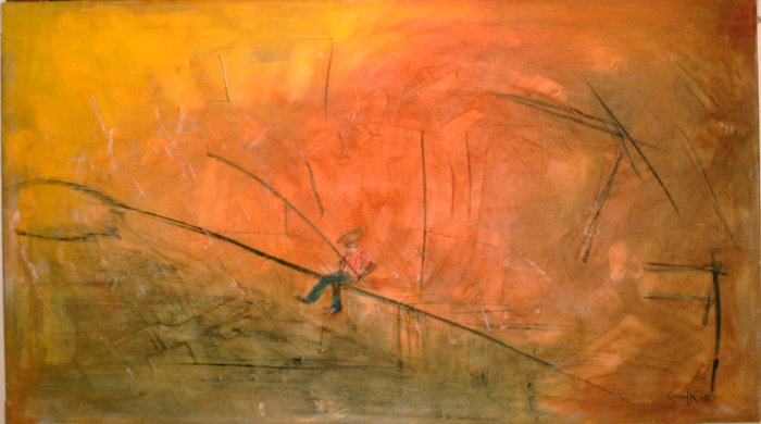 Fiske - 2002, oil on canvas, 100 x 57 cm.