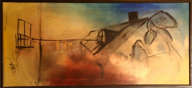 Hustak - 2003, oil on canvas, 100 x 46 cm. Private collection.