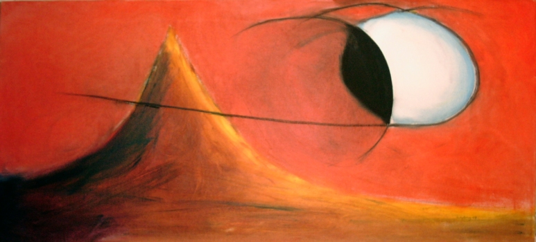 Måndag - 2003, oil on canvas, 100 x 46 cm. Sold.