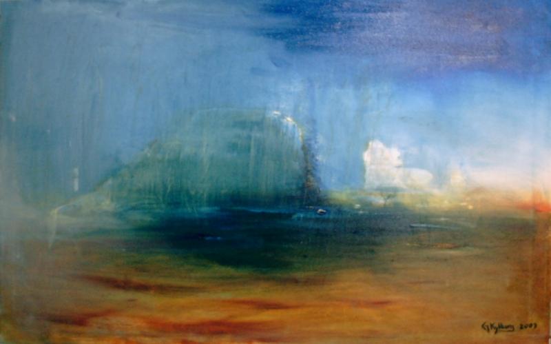 Regnet kom - 2003, oil on canvas, 100 x 65 cm.