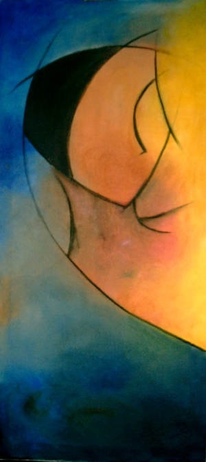 Vågmästare - 2005, oil on canvas, 40 x 100 cm. Sold.